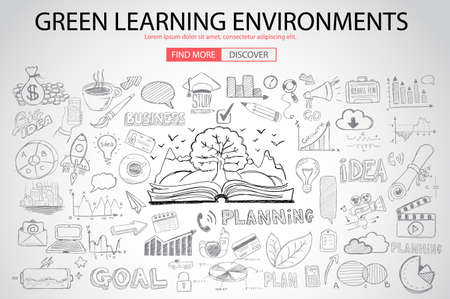 power of savings: Green Learning Environment with Doodle design style :power savings, optimization process, creative thinking. Modern style illustration for web banners, brochure and flyers.