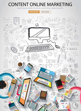 mercadotecnia: En línea de marketing con el concepto de diseño de estilo Doodle: la búsqueda de ideas, publicidad en los medios sociales, lemas creativos. ilustración de estilo moderno para la web banners, folletos y volantes.