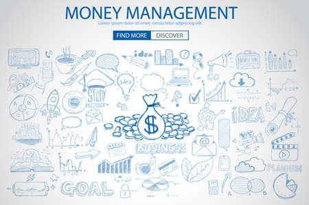 비지니스: 낙서 디자인 스타일 절약 솔루션, 투자가 연구, 주식 그래프와 돈 관리 개념입니다. 웹 배너, 브로셔 및 전단지 현대적인 스타일입니다.