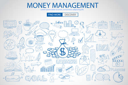 Money Management concept with Doodle design style saving solution, investmen studies, stock graphs. Modern style illustration for web banners, brochure and flyers.