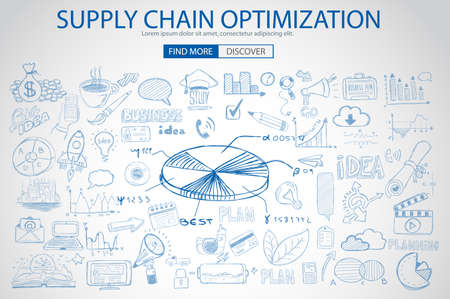web solution: Supply Chain optimization concept with Doodle design style :finding solution, brainstorming, creative thinking. Modern style illustration for web banners, brochure and flyers. Illustration