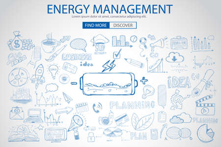 person thinking: Energy management with Doodle design style :power savings, optimization process, creative thinking. Modern style illustration for web banners, brochure and flyers. Illustration