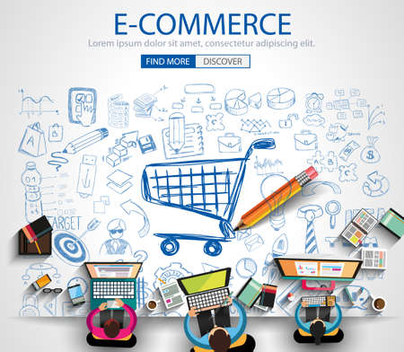 e shopping: E-commerce Concept with Doodle design style :on line marketing, social media,creative thinking. Modern style illustration for web banners, brochure and flyers.