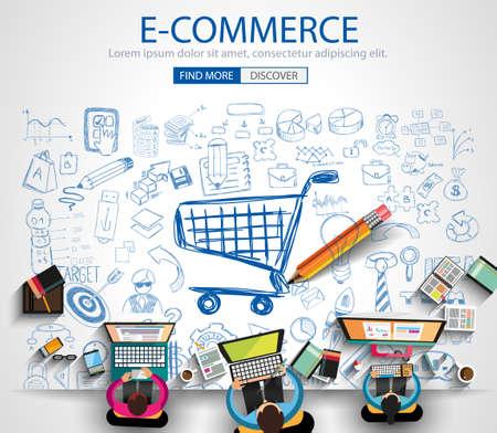 E-Commerce-Konzept mit Doodle Design-Stil: on line Marketing, Social Media, kreatives Denken. Moderne Art-Illustration für Web-Banner, Broschüren und Flyer.