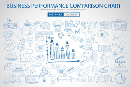 business finance: Business Performance Comparison Chart Concept with Doodle design style :finding solution, brainstorming, creative thinking. Modern style illustration for web banners, brochure and flyers. Illustration