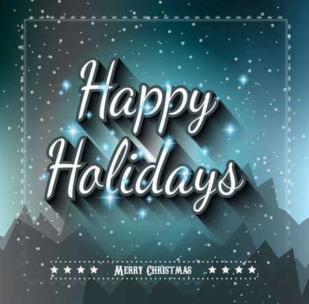 feriado: Happy Holiday y Feliz Navidad estacional de fondo para sus tarjetas de felicitación de Año Nuevo, folleto, invitación de la cena de Chrstmas, pósters y hacer en. Vectores