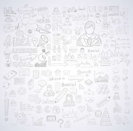 creative: Business doodles Sketch set : infographics elements isolated, vector shapes. It include lots of icons included graphs, stats, devices,laptops, clouds, concepts and so on.