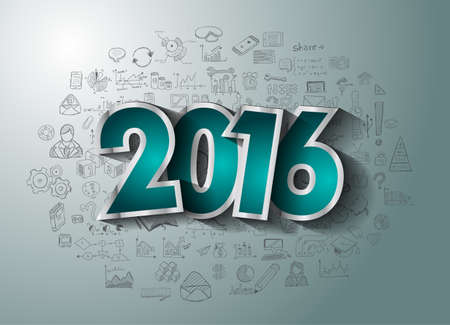 new years: 2016 Business Conceptual creative drawing business success strategy plan ideas concept, infographics, isnpiration,modern design template layout, diagram, step options and business solutions