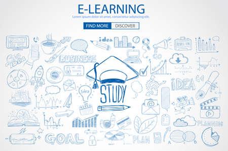 Educación y concepto de aprendizaje con Doodle estilo de diseño: solución de la enseñanza, los estudios, las ideas creativas. Ilustración de estilo moderno para la web banners, folletos y volantes.