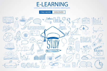 study: Educación y concepto de aprendizaje con Doodle estilo de diseño: solución de la enseñanza, los estudios, las ideas creativas. Ilustración de estilo moderno para la web banners, folletos y volantes.