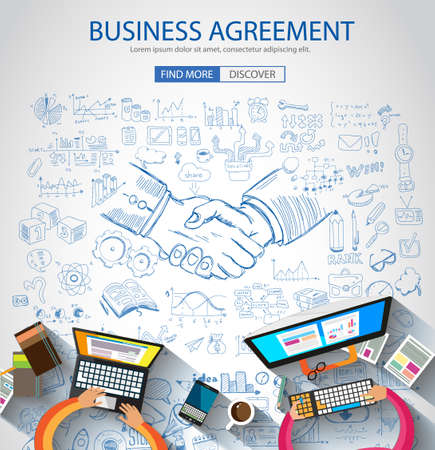business banner: Business Agreement concept wih Doodle design style :finding solution, brainstorming, creative thinking. Modern style illustration for web banners, brochure and flyers.