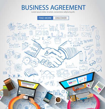 iconos: Concepto Acuerdo negocios facturan con el estilo de diseño del Doodle: la búsqueda de la solución, de intercambio de ideas, el pensamiento creativo. Ilustración de estilo moderno para la web banners, folletos y volantes.