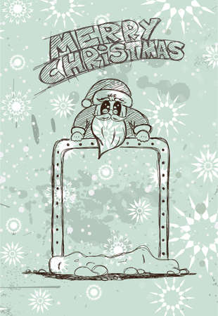 chrstmas: Hand Drawn Santas Panel doodle sketch with Vintage themed background. Ideal for your Chrstmas  Vintage menu or cards.