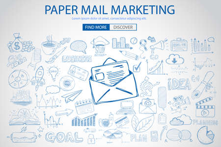 mail marketing: Paper email Marketing with Doodle design style :sending real mails, promotions, creative designs. Modern style illustration for web banners, brochure and flyers.