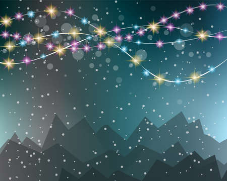 string: Christmas Lights Background for your seasonal wallpapers, Happy New Year Backgrounds, greetings card, dinner invitations, party flyers, covers and so on. Illustration
