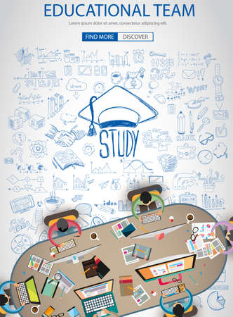 Educational and Learning concept with Doodle design style :teaching solution, studies, creative ideas. Modern style illustration for web banners, brochure and flyers.