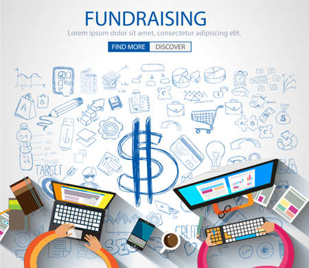 Fundraising concept with Doodle design style :finding money, financial management, creative thinking. Modern style illustration for web banners, brochure and flyers. Stock Illustratie