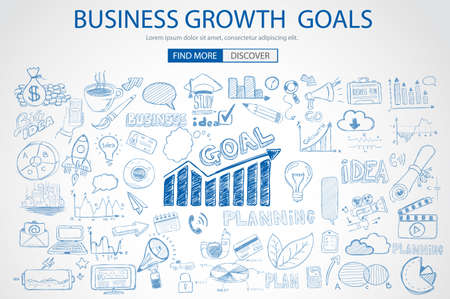 work team: Business Growth Goals concet with Doodle design style :finding solution, brainstorming, creative thinking. Modern style illustration for web banners, brochure and flyers. Illustration