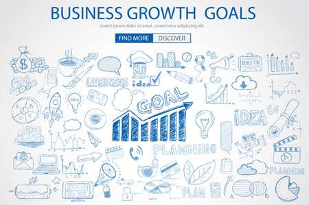 gestion empresarial: Objetivos de crecimiento del negocio Concet con el estilo de dise�o del Doodle: encontrar la soluci�n, de intercambio de ideas, el pensamiento creativo. ilustraci�n de estilo moderno para la web banners, folletos y volantes.