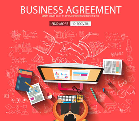 business agreement: Business Agreement concept wih Doodle design style :finding solution, brainstorming, creative thinking. Modern style illustration for web banners, brochure and flyers.