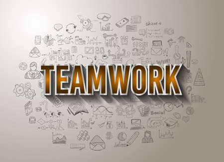 business team: Teamwork Business Success with Doodle design style :finding solution, brainstorming, creative thinking. Modern style illustration for web banners, brochure and flyers. Illustration