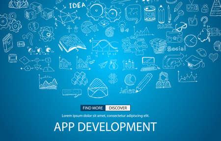사용자 인터페이스, UI 디자인, mobiel 장치 : 낙서 디자인 스타일 앱 개발 개념입니다. 웹 배너, 브로셔 및 전단지 현대적인 스타일입니다.