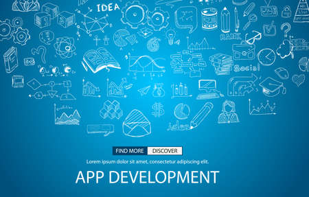 website plan: App Development Concept with Doodle design style :user interfaces, UI design,mobiel devices. Modern style illustration for web banners, brochure and flyers.