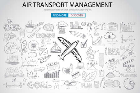 air traffic: Air Transport Management Concept with Doodle design style :finding routes, monetization strategy, increase traffic. Modern style illustration for web banners, brochure and flyers.
