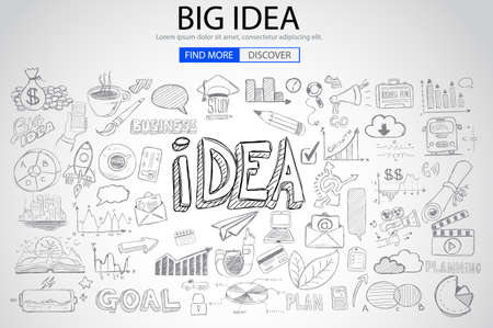 web solution: Big Idea  Concept with Doodle design style :finding solution, brainstorming, creative thinking. Modern style illustration for web banners, brochure and flyers.