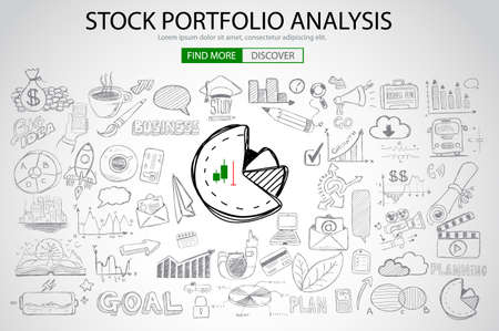 stock exchange: Stock Portfolio Analysis Concept with Doodle design style :following trends, money management, investment diversification. Modern style illustration for web banners, brochure and flyers.