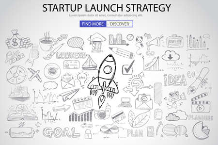 Strartup Launch Strategy Concept with Doodle design style :finding solution, monetization strategy, increase funding. Modern style illustration for web banners, brochure and flyers.  イラスト・ベクター素材