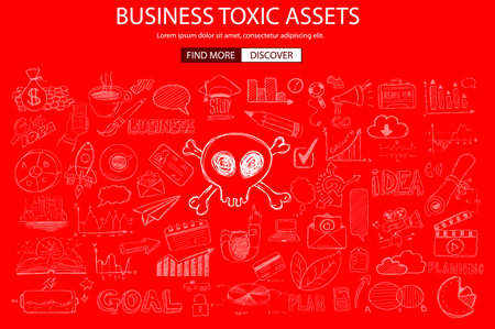 toxic: Business Toxic Assets concept with Doodle design style :risk purchases, assets exposure, money spending. Modern style illustration for web banners, brochure and flyers. Illustration