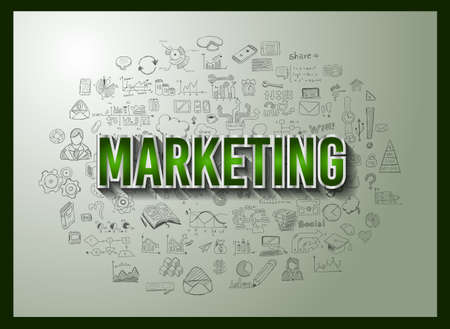 web marketing: Business Success and Marketing Strategy concept with Doodle design style :finding solution, brainstorming, creative thinking. Modern style illustration for web banners, brochure and flyers.