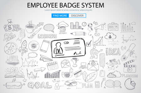 presence: Employee Badge System concept with Doodle design style: working hours report, presence at job, puntuality. Modern style illustration for web banners, brochure and flyers. Illustration