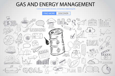 energy management: Gas and Energy Management concept with Doodle design style :power savings, petrol extraction, eco friendly thinking. Modern style illustration for web banners, brochure and flyers.
