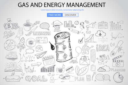 Gaz et gestion de l'énergie avec le concept Doodle style design: économies d'énergie, l'extraction de l'essence, la pensée écologique. Moderne illustration de style pour bannières web, brochure et flyers. Vecteurs