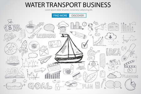 sign road: Water Transport Business Concept with Doodle design style :finding routes, monetization strategy, increase traffic. Modern style illustration for web banners, brochure and flyers.