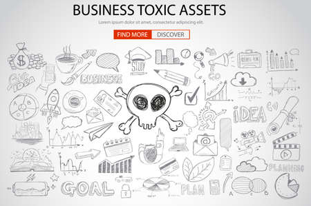 arrow poison: Business Toxic Assets concept with Doodle design style :risk purchases, assets exposure, money spending. Modern style illustration for web banners, brochure and flyers. Illustration