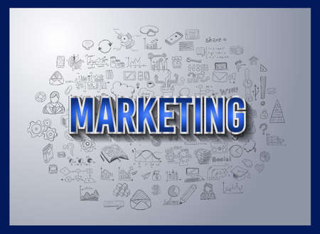 business marketing: Business Success and Marketing Strategy concept with Doodle design style :finding solution, brainstorming, creative thinking. Modern style illustration for web banners, brochure and flyers.