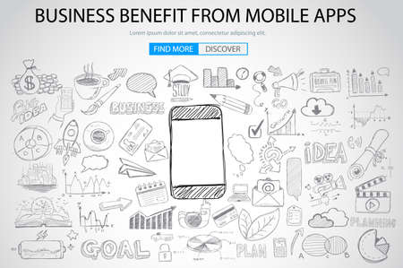 Business Benefit From Mobile concept with Doodle design style :reaching more customers, promotions, creative designs. Modern style illustration for web banners, brochure and flyers.