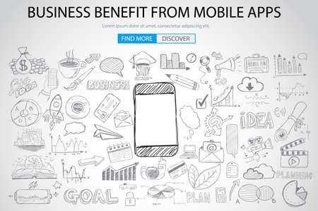 Beneficio de negocios Desde el concepto móvil con el estilo de diseño del Doodle: llegar a más clientes, promociones, diseños creativos. ilustración de estilo moderno para la web banners, folletos y volantes. Foto de archivo - 49092662
