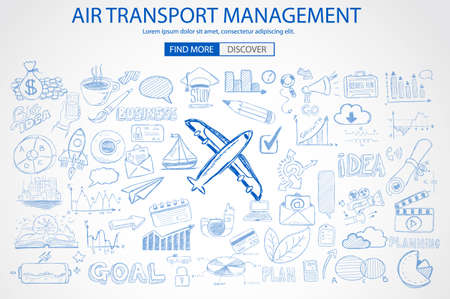 sea freight: Air Transport Management Concept with Doodle design style :finding routes, monetization strategy, increase traffic. Modern style illustration for web banners, brochure and flyers.