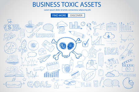 poison arrow: Business Toxic Assets concept with Doodle design style :risk purchases, assets exposure, money spending. Modern style illustration for web banners, brochure and flyers. Illustration