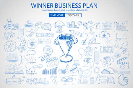 web solution: Winning Business Plan  Concept with Doodle design style :finding solution, brainstorming, creative thinking. Modern style illustration for web banners, brochure and flyers.