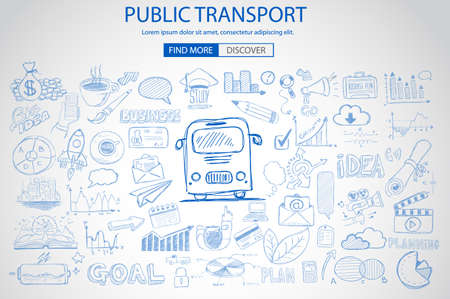 pullman: Public Transports concept wih Doodle design style :best routes, users satisfactions, gas saving. Modern style illustration for web banners, brochure and flyers.