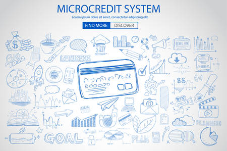 owning: Microcredt Systtem concept with Doodle design style :finding money, fcrowfunding, social business. Modern style illustration for web banners, brochure and flyers.