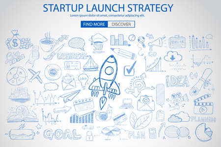 business marketing: Strartup Launch Strategy Concept with Doodle design style :finding solution, monetization strategy, increase funding. Modern style illustration for web banners, brochure and flyers. Illustration