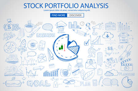 diversification: Stock Portfolio Analysis Concept with Doodle design style :following trends, money management, investment diversification. Modern style illustration for web banners, brochure and flyers.