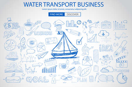 increase business: Water Transport Business Concept with Doodle design style :finding routes, monetization strategy, increase traffic. Modern style illustration for web banners, brochure and flyers.