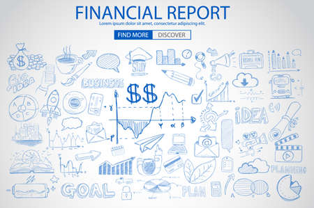 Financial Report concept with Doodle design style: online purchases, banking, money spending. Modern style illustration for web banners, brochure and flyers.